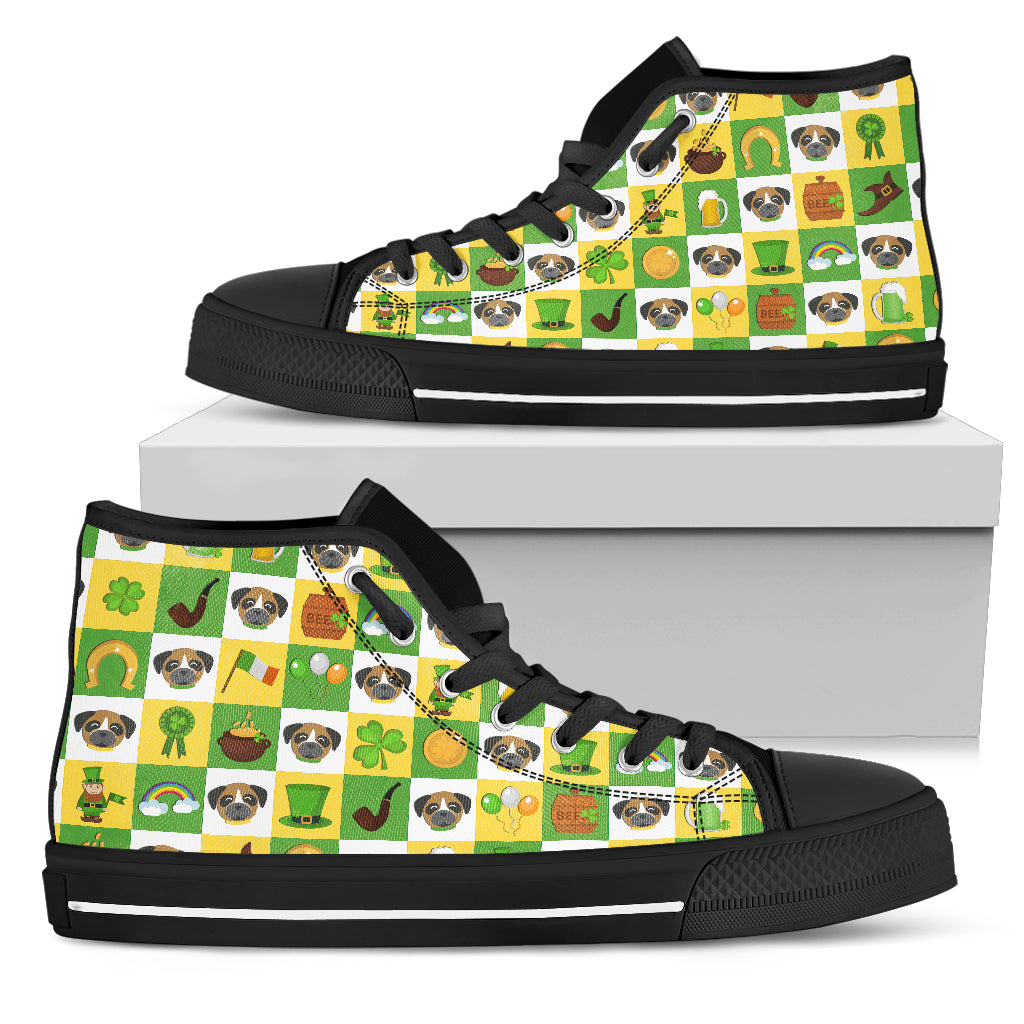 Boxer And Saint Patrick's Day Elements High Top Shoes