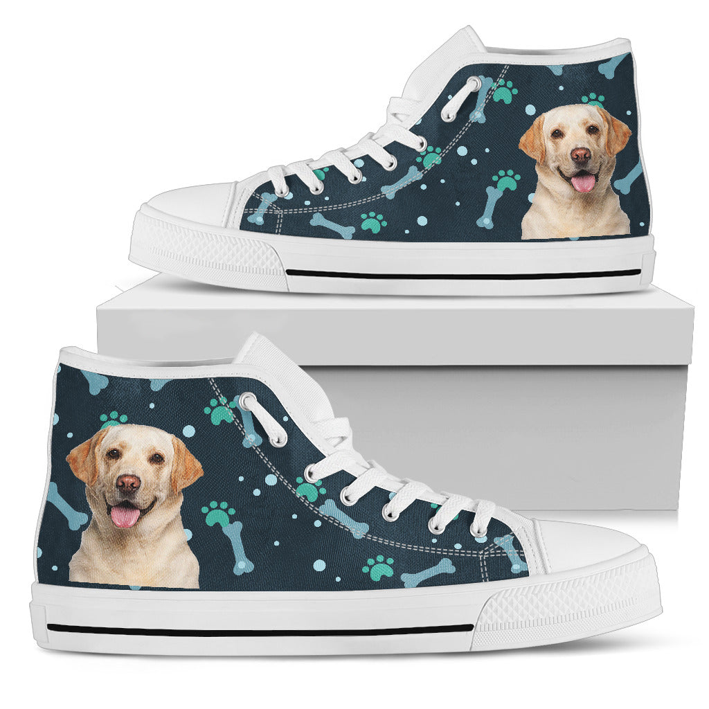 Bone Heart Pattern Labrador Dog Navy High Top Shoes