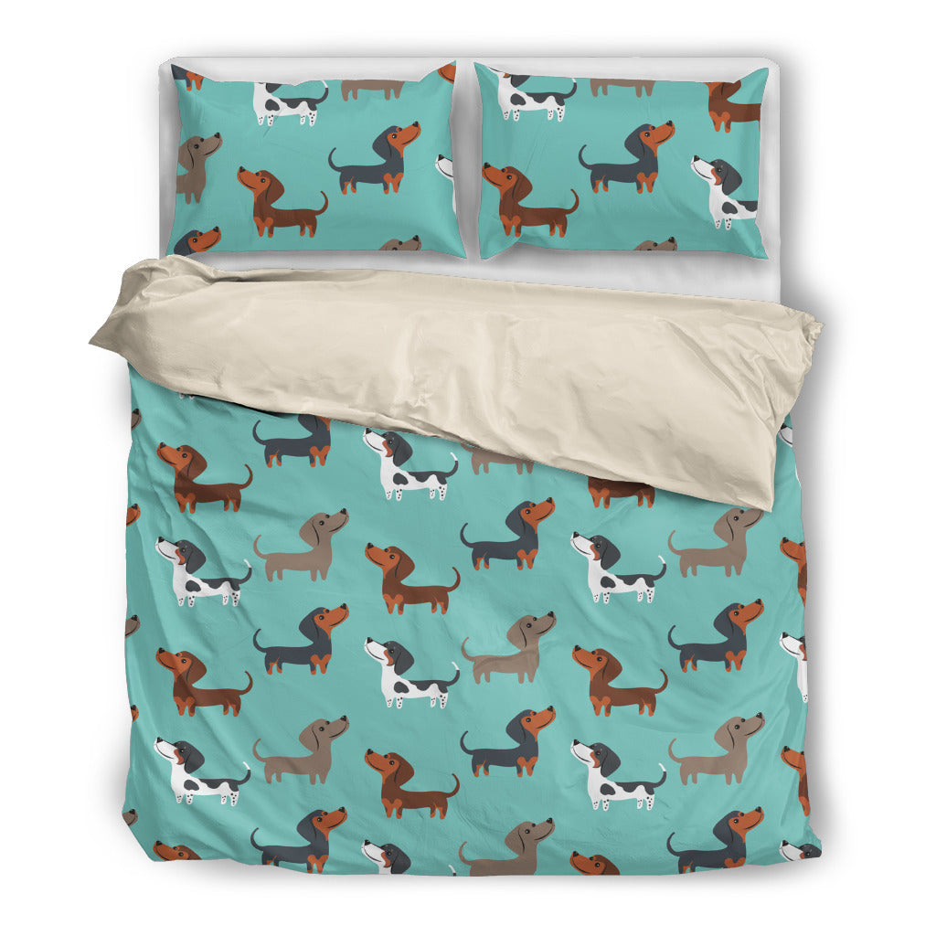 Dachshund Funny Brown Dachshunds In Blue Background Bedding Set