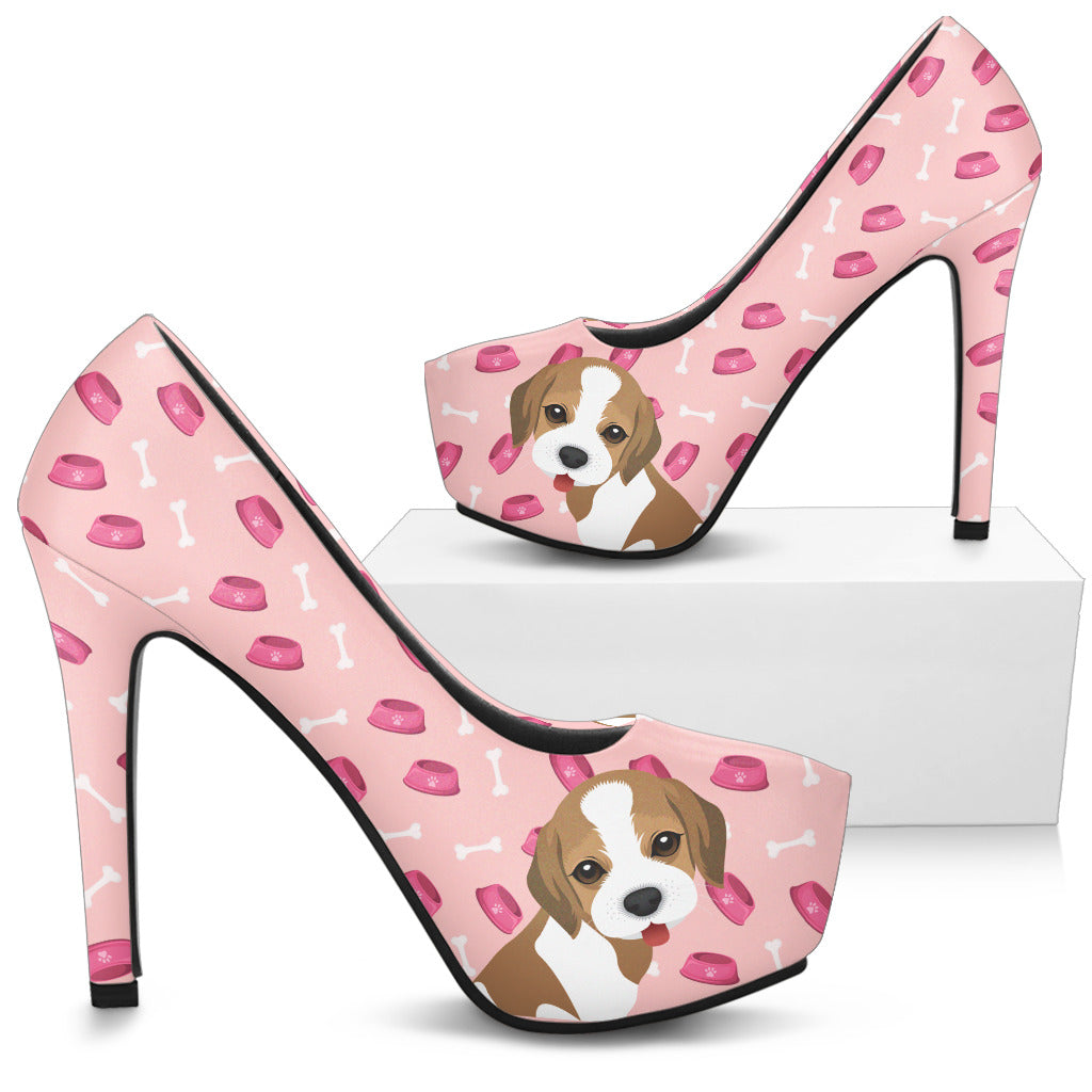 Boston Terrier Pattern Food And Beagle High Heels