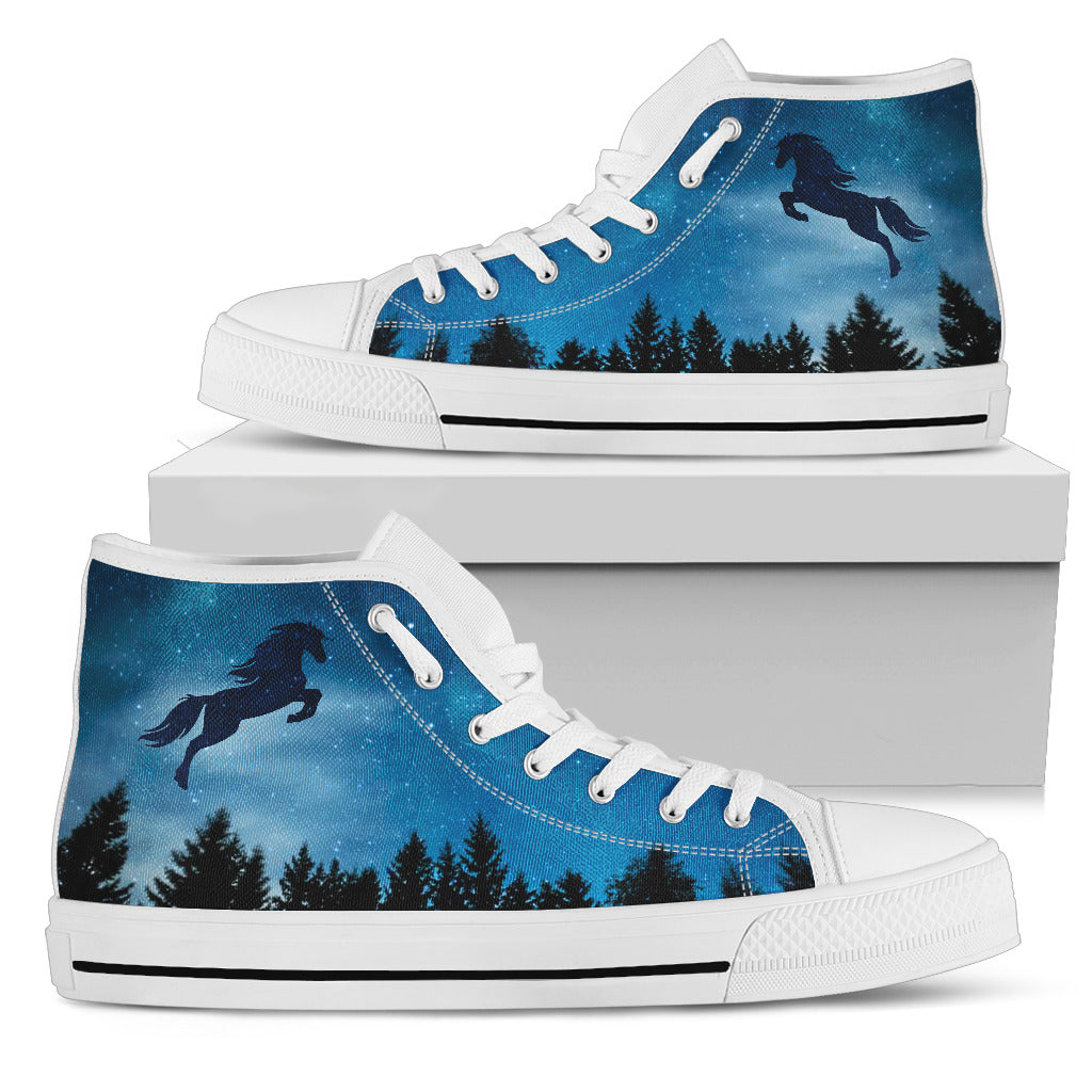 Horse Shadow In Midnight Forest High Top Shoes