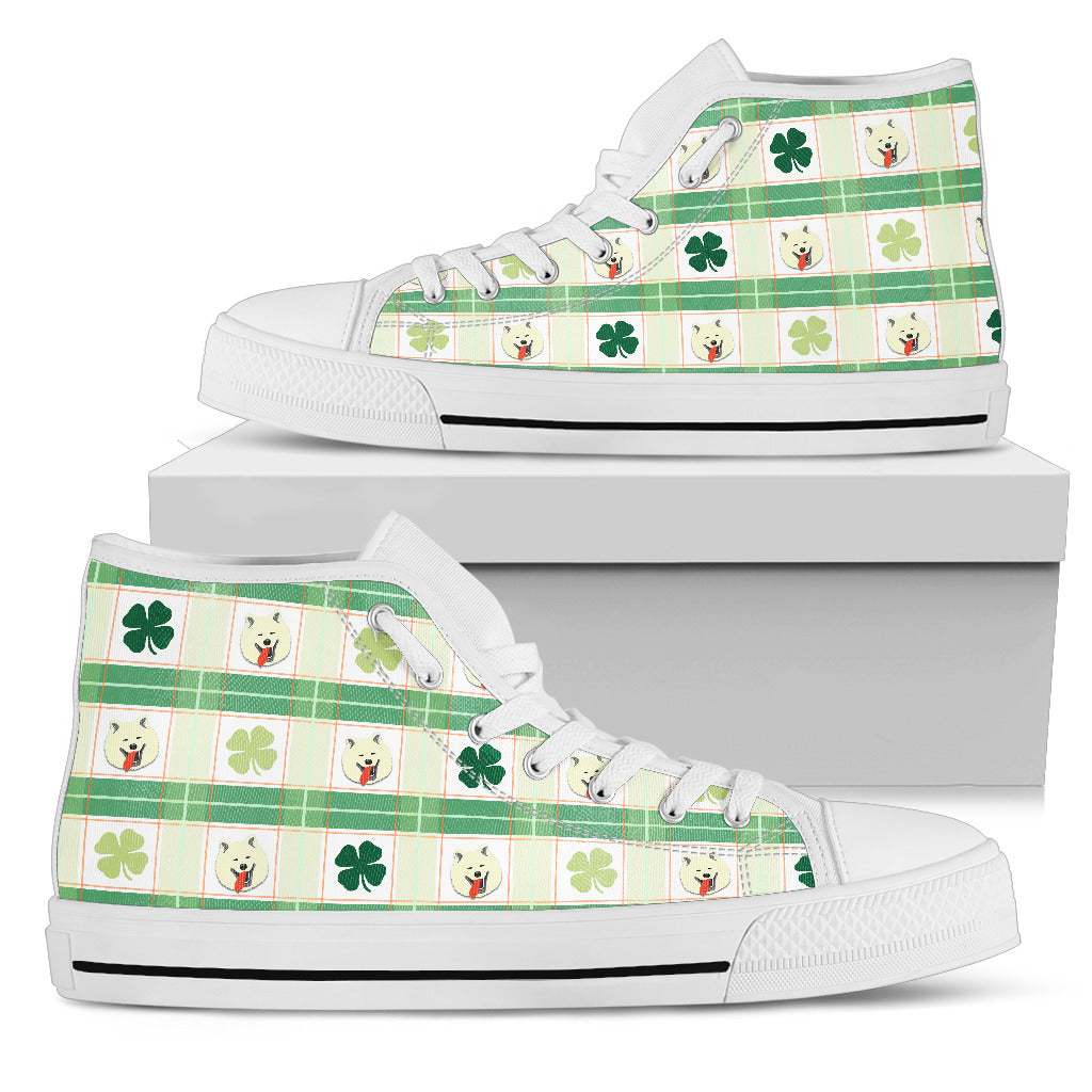 Shamrock With Samoyed High Top Shoes