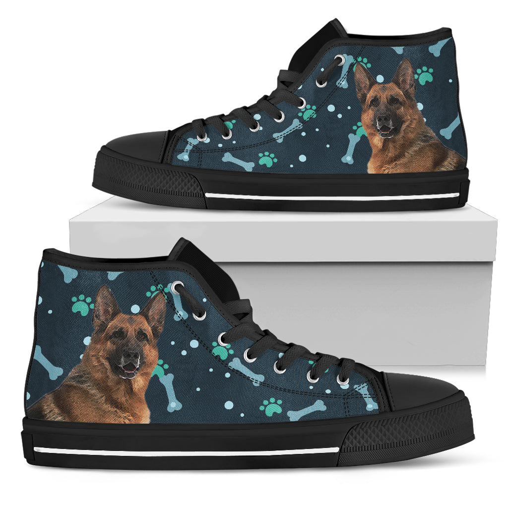 Bone Heart Pattern German Dog Navy High Top Shoes