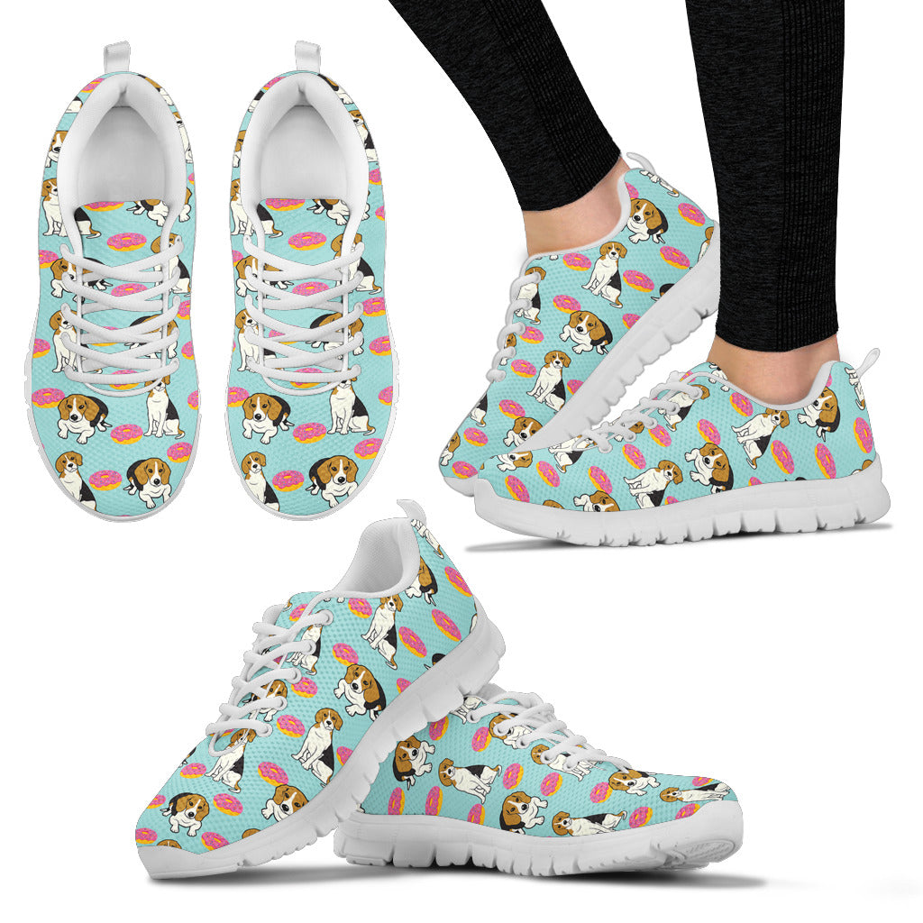 Retro Donuts Pattern Beagle Sneakers