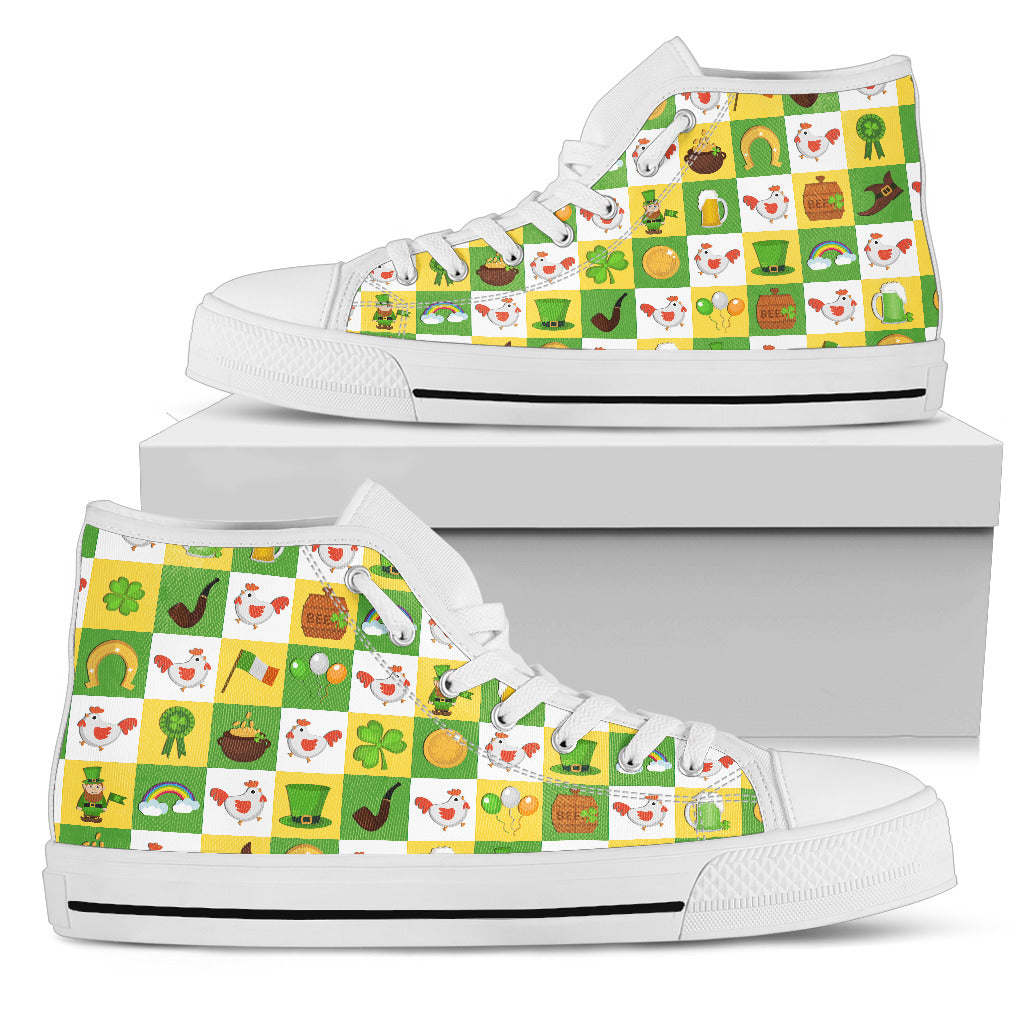 Chicken And Saint Patrick's Day Elements High Top Shoes