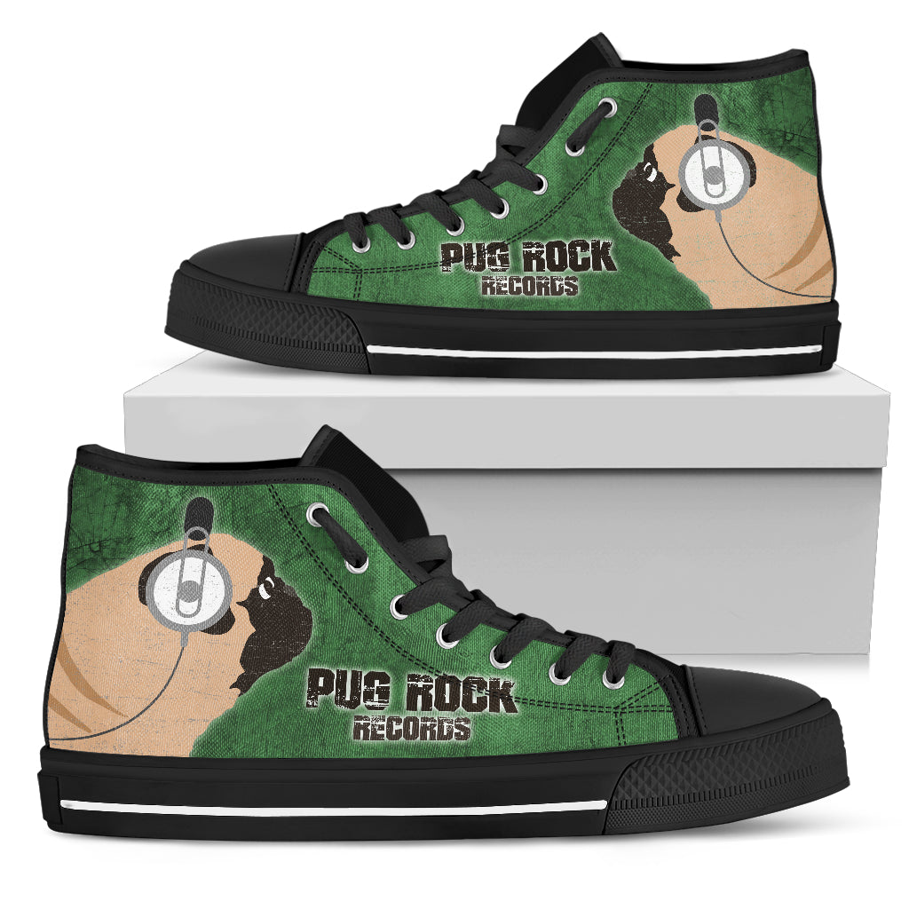Funny Pug Dog High Top Shoes Pug Rock Records Green