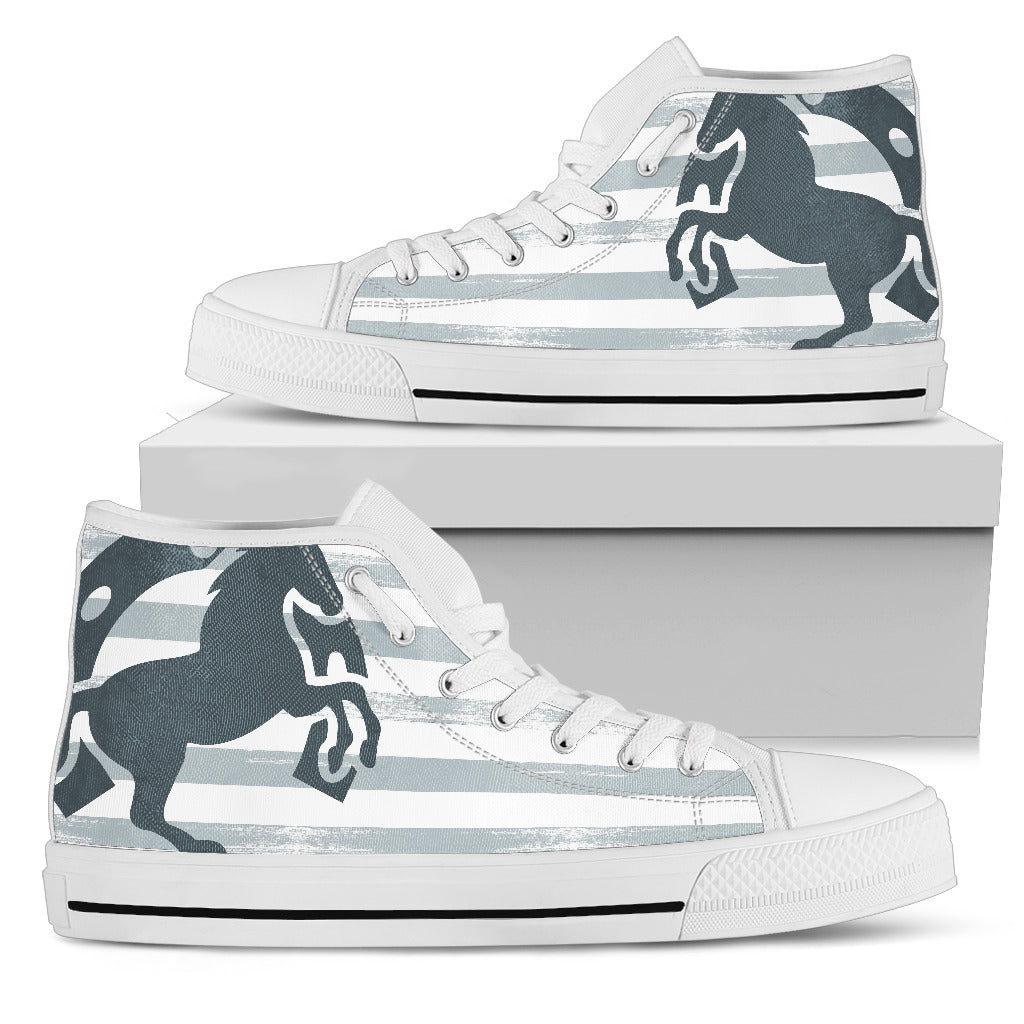 Black Horse With Crosswise Ribs High Top Shoes
