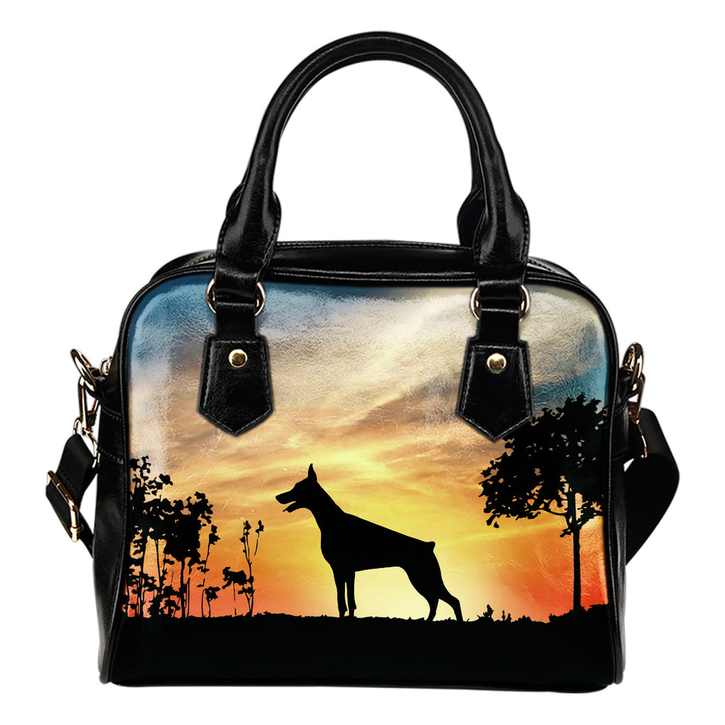 Doberman Sunshine Silhouette Shoulder Handbags