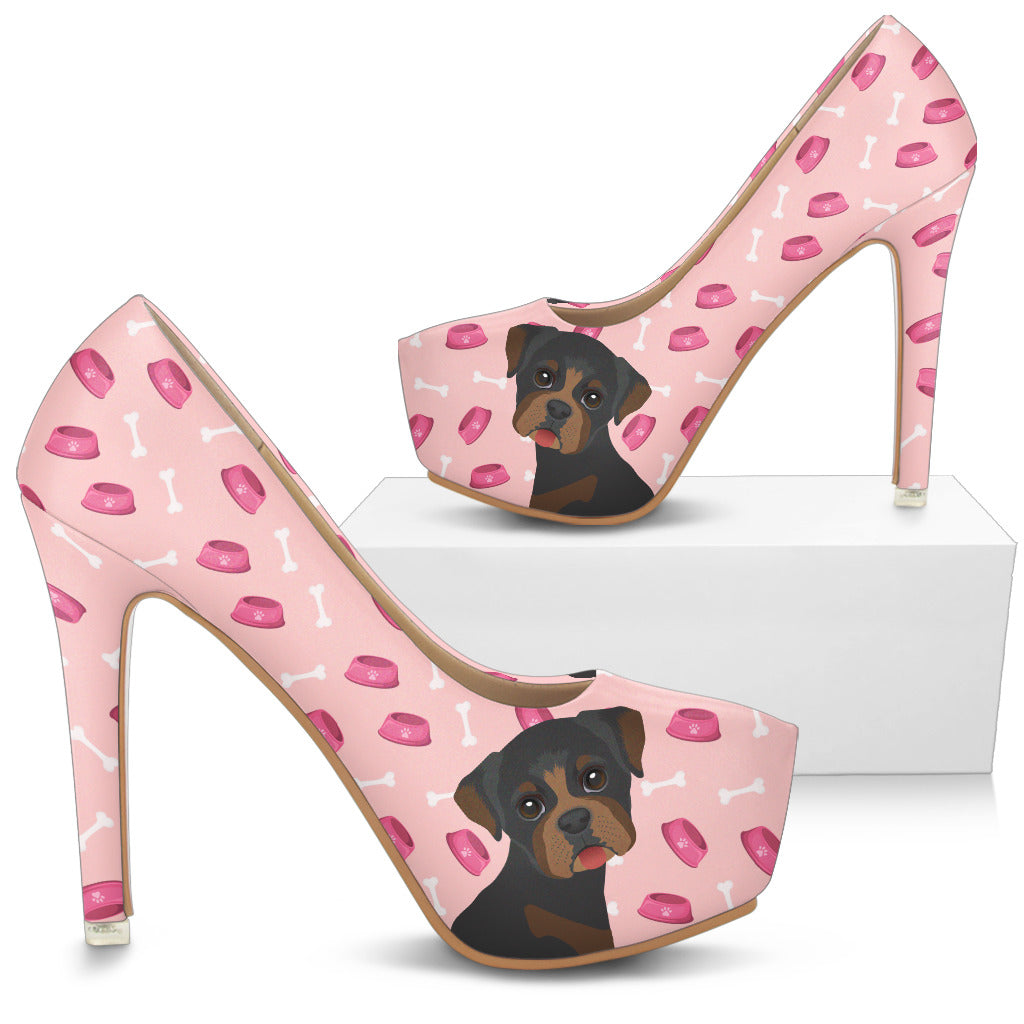 Boston Terrier Pattern Food And Rottweiler High Heels