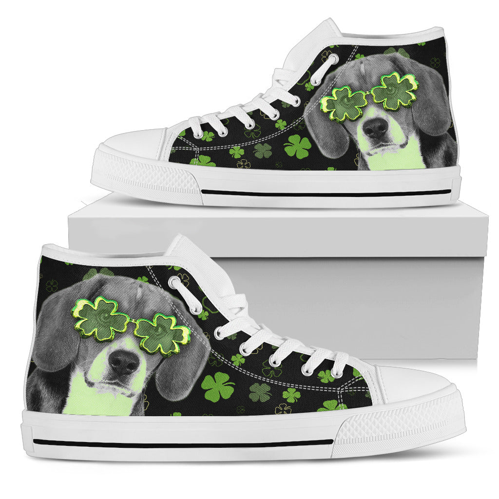 Beagle Wearing Four Leaf Clover Eyeglasses High Top Shoes