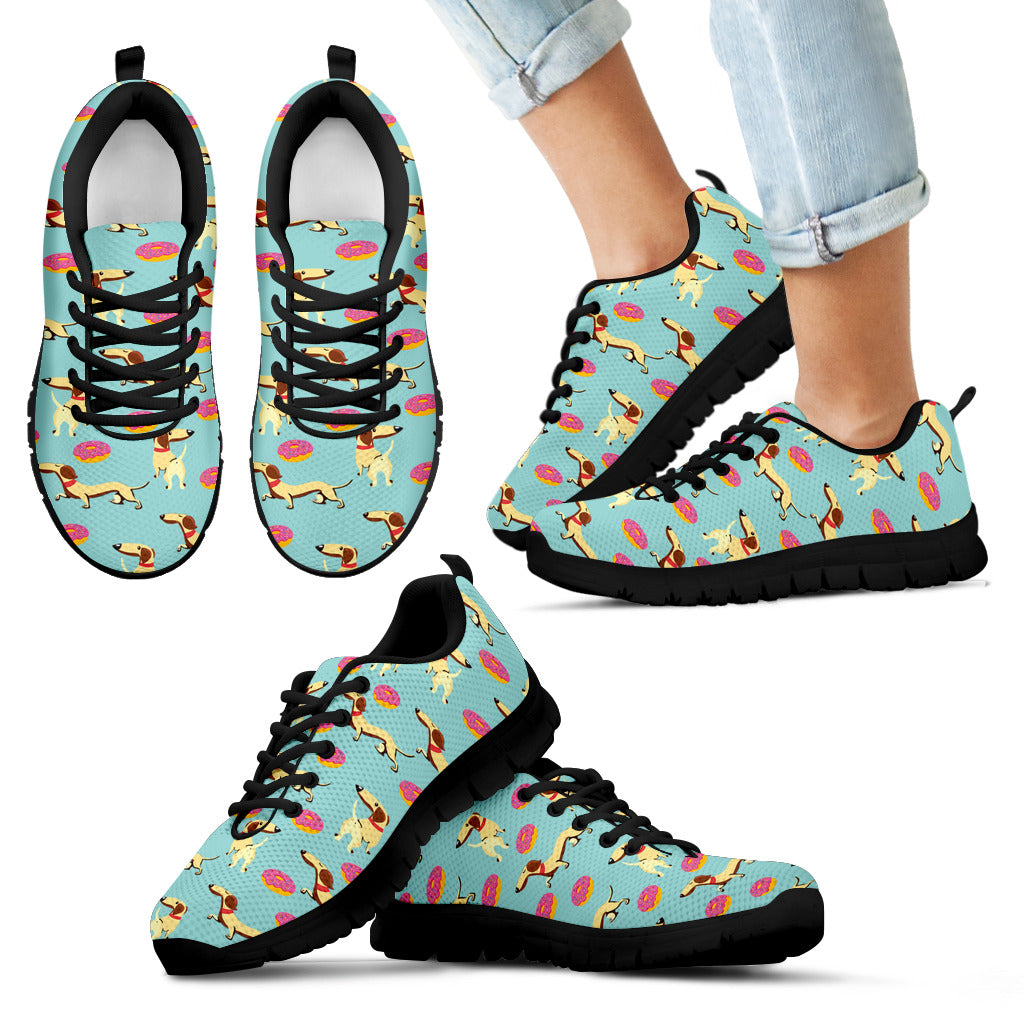 Retro Donuts Pattern Dachshund Sneakers