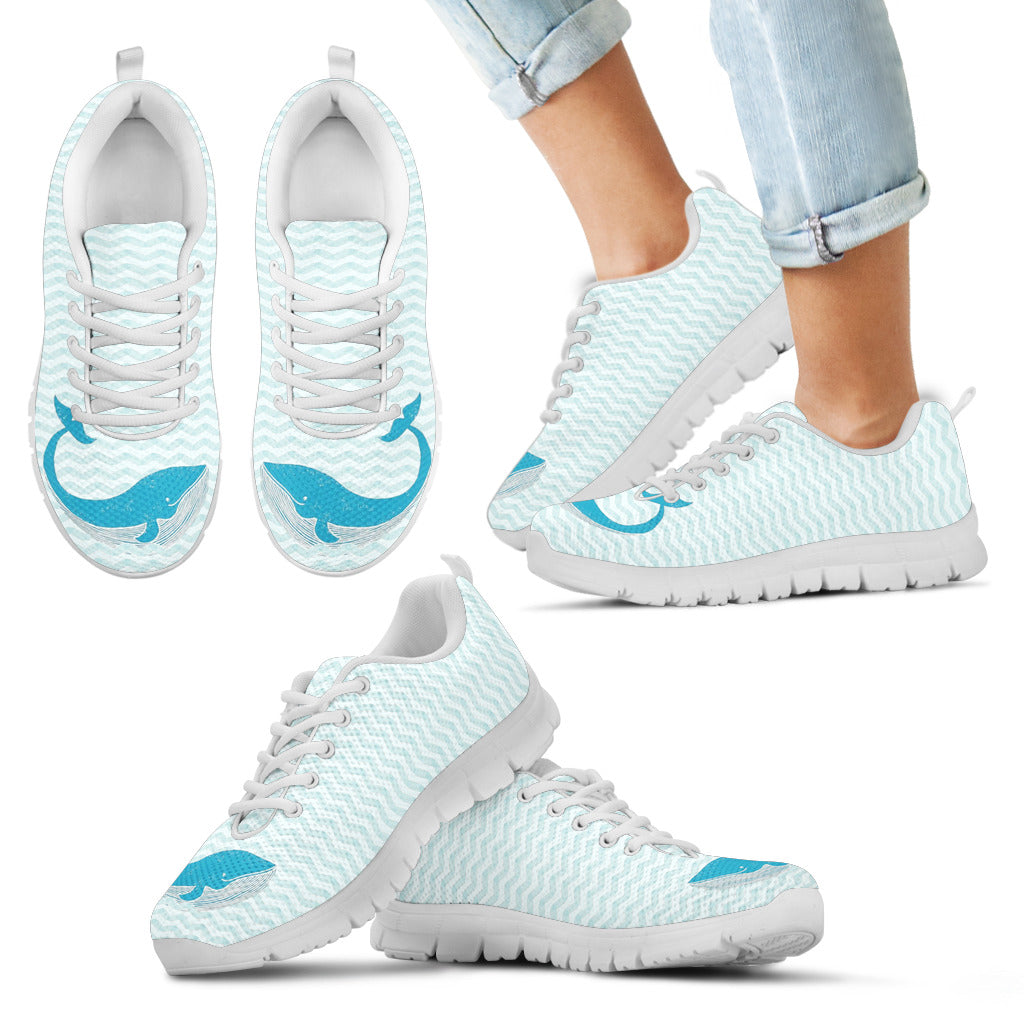 Whale Blue White Swimming Lovely Wonderful Cute Sneaker