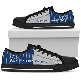 Simple Design Vertical Stripes Tampa Bay Lightning Low Top Shoes