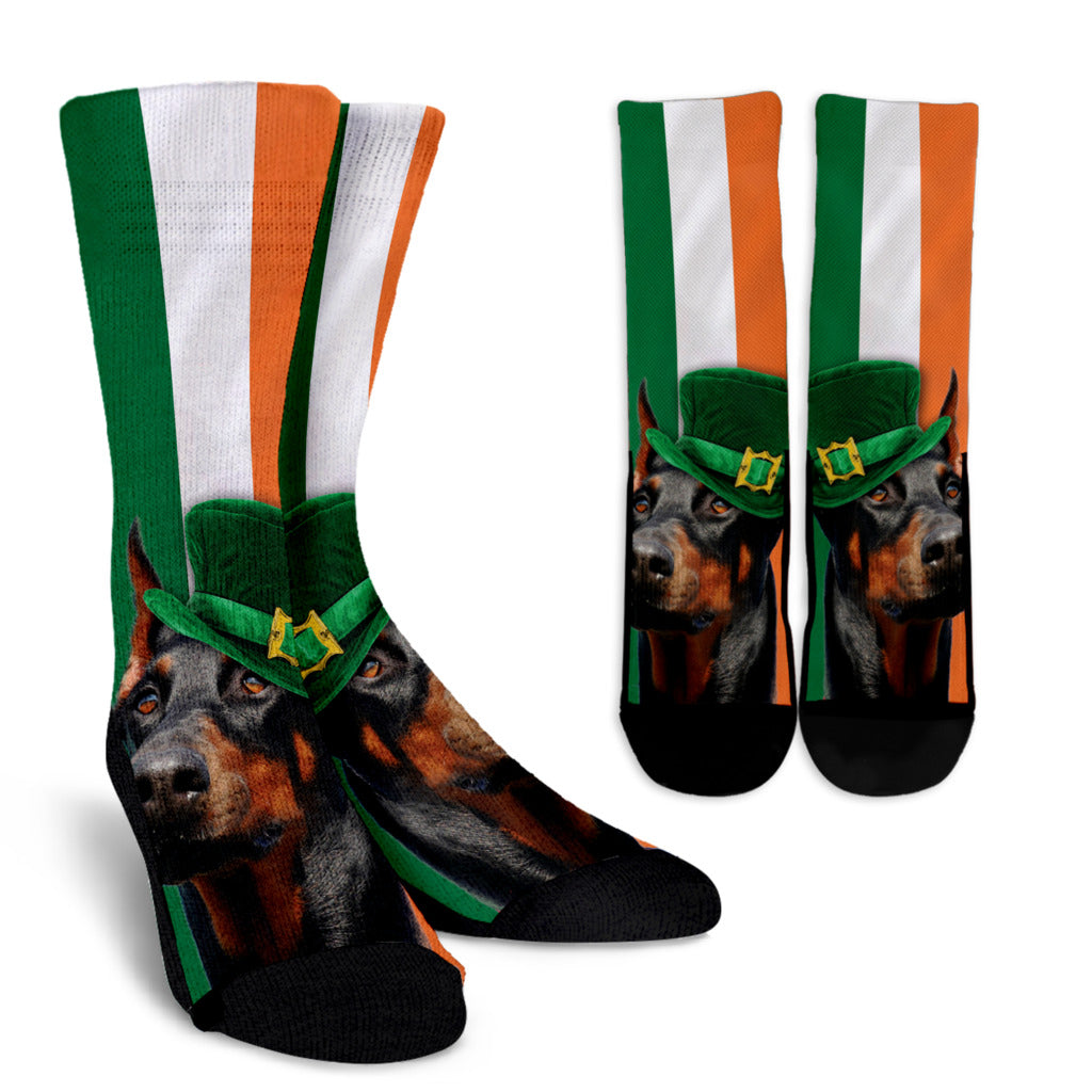 Irish Doberman Ireland Flag Background Crew Socks