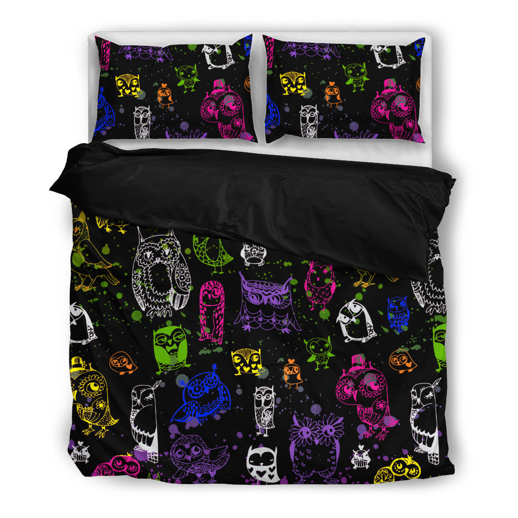 Brusher Owl Colorful Watercolor Random Lovely Bedding Sets