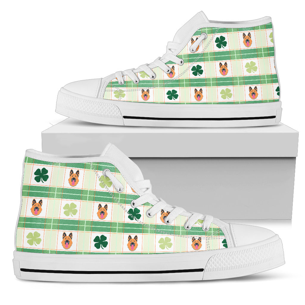 Shamrock With German Shepherd High Top Shoes