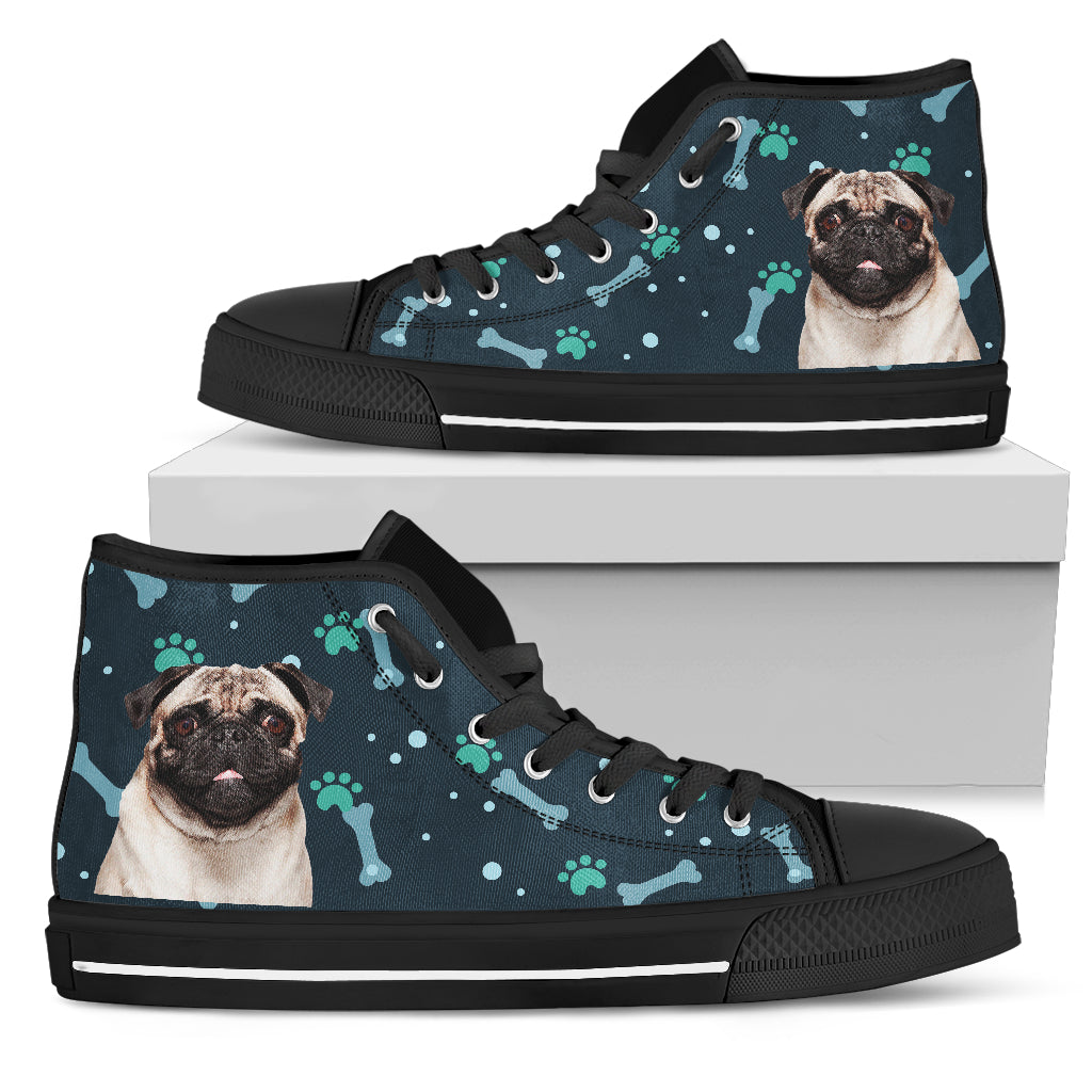 Bone Heart Pattern Pug Dog Navy High Top Shoes