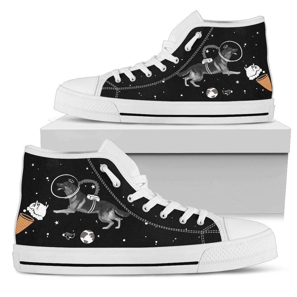 German Shepherd Astronaut Flying In Spaceman Suit Eating Ice Cream High Top Shoes
