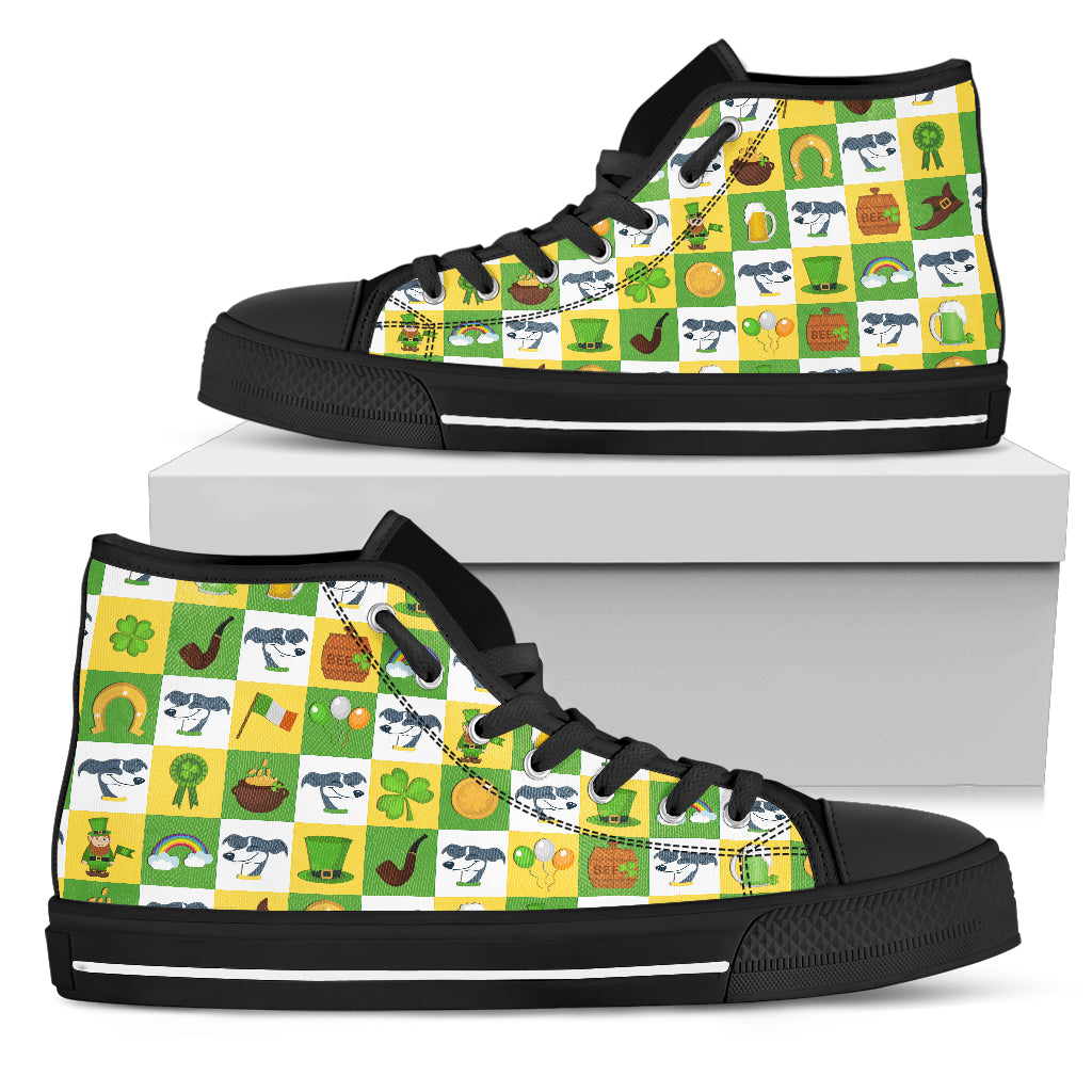 Greyhound And Saint Patrick's Day Elements High Top Shoes
