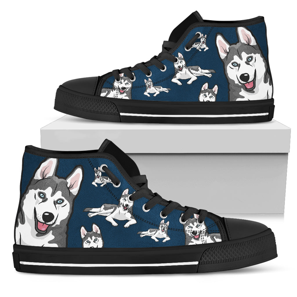 Funny Husky Dog High Top Shoes Husky Face Pattern