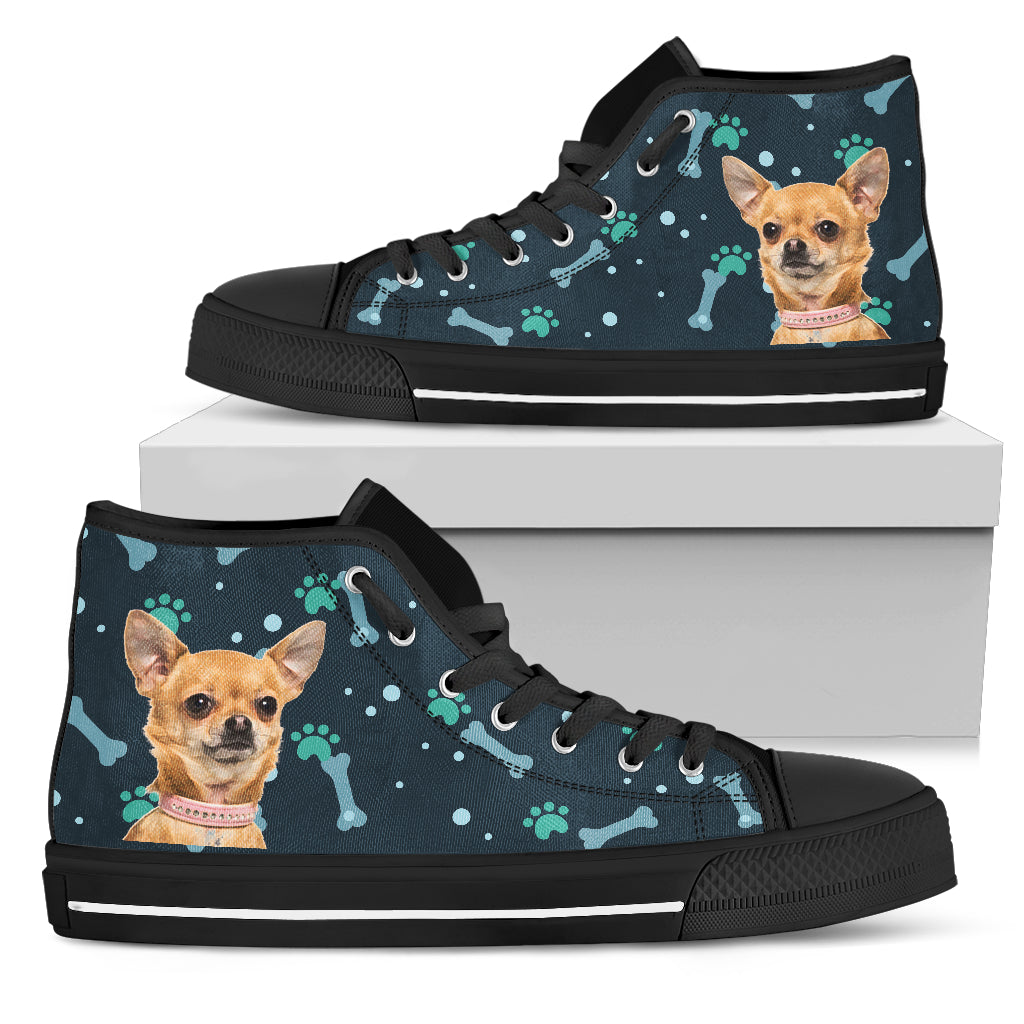 Bone Heart Pattern Chihuahua Dog Navy High Top Shoes