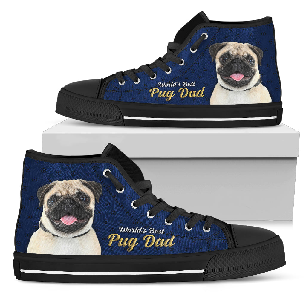 Funny Pug High Top Shoes World's Best Pug Dad