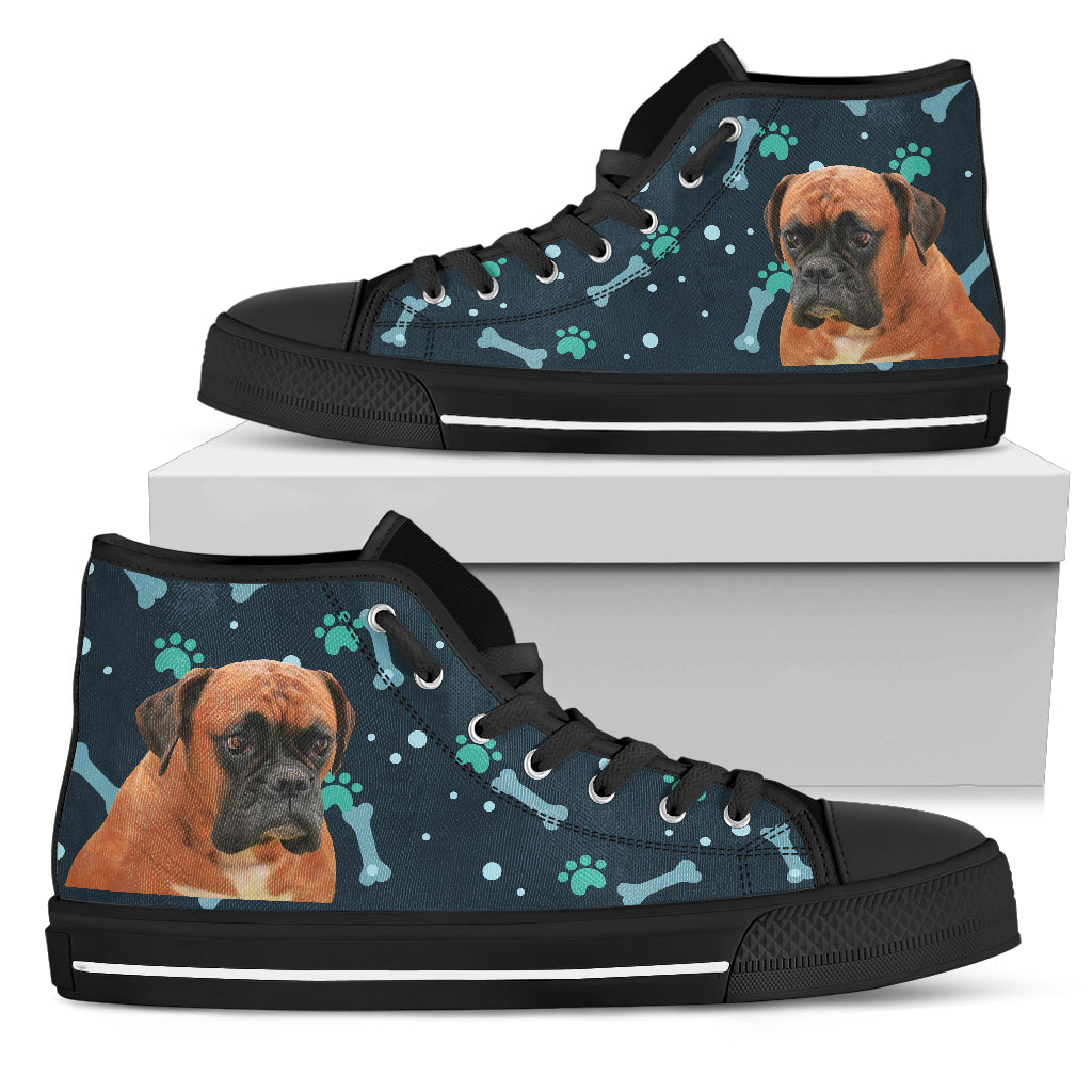 Bone Heart Pattern Boxer Dog Navy High Top Shoes