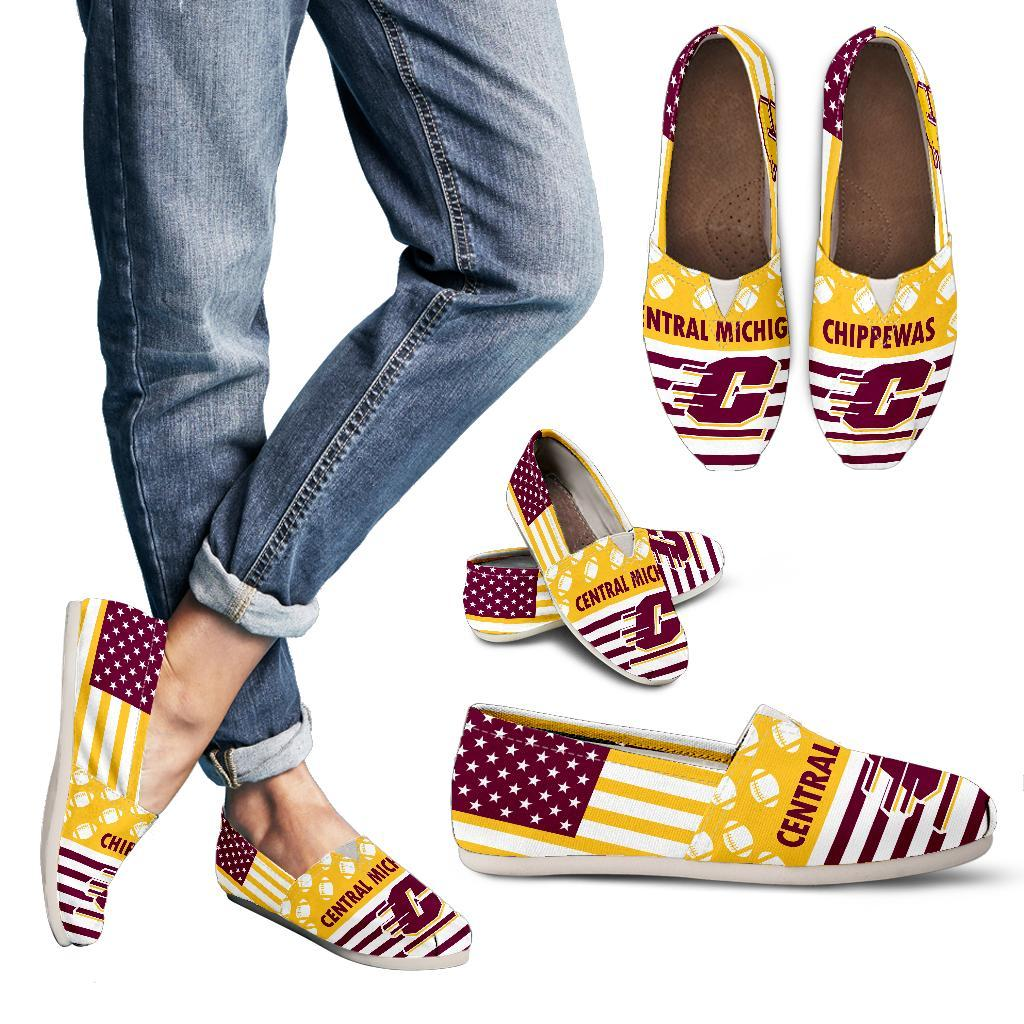 Proud of American Flag Central Michigan Chippewas Casual Shoes