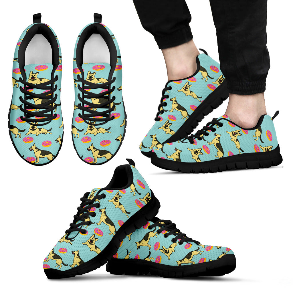 Retro Donuts Pattern German Shepherd Sneakers