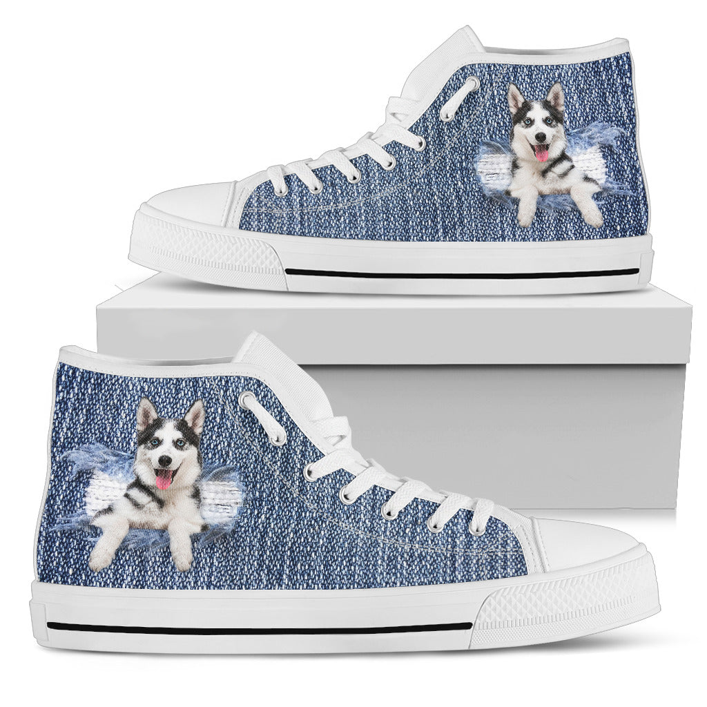 Siberian Husky Break The Wall High Top Shoes