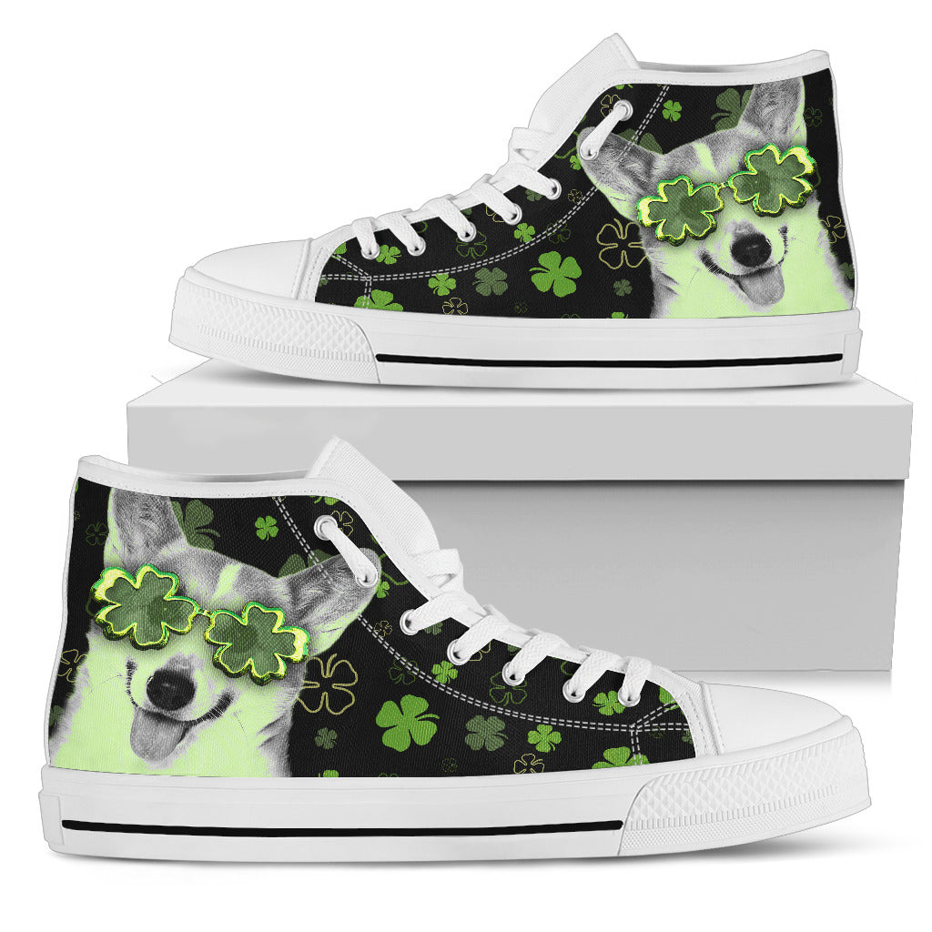 Corgi Wearing Four Leaf Clover Eyeglasses High Top Shoes