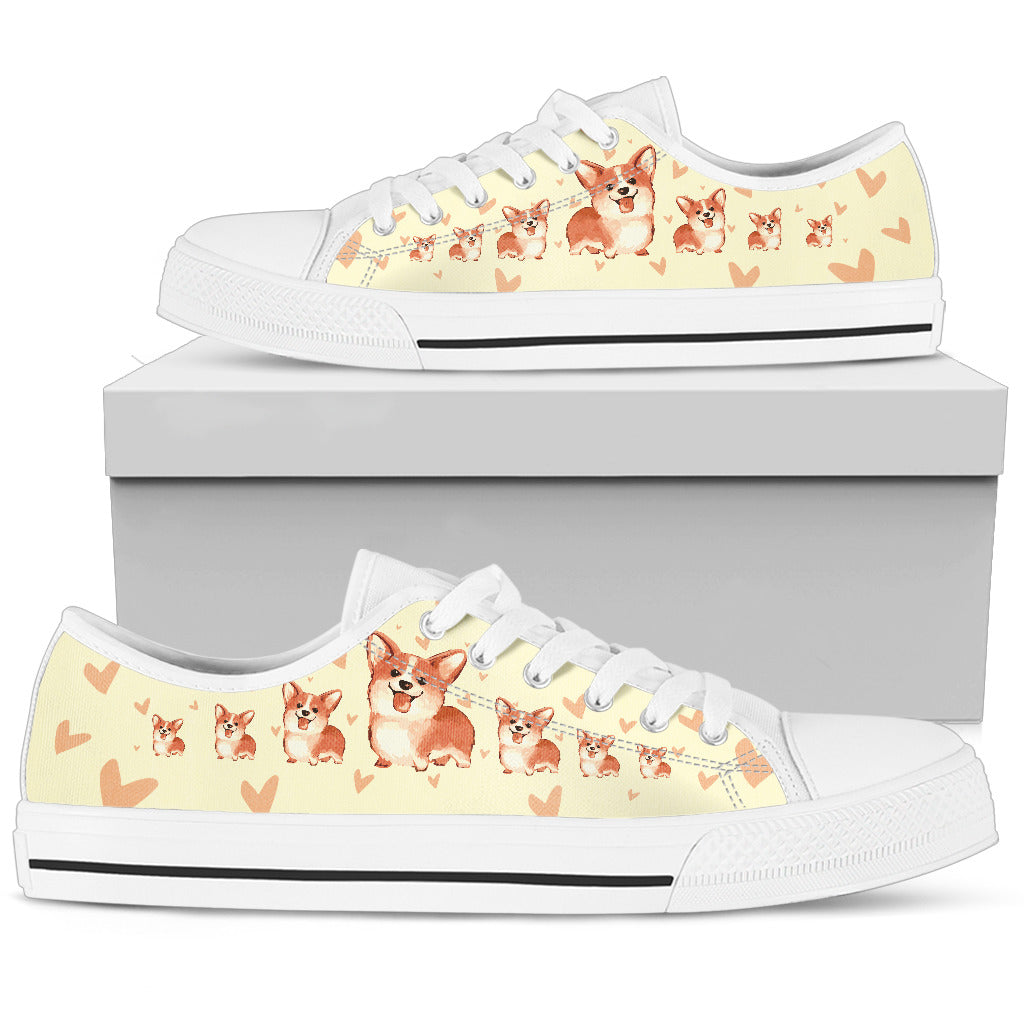 Funny Corgi Dog Low Top Shoes Cartoon Corgi Heart