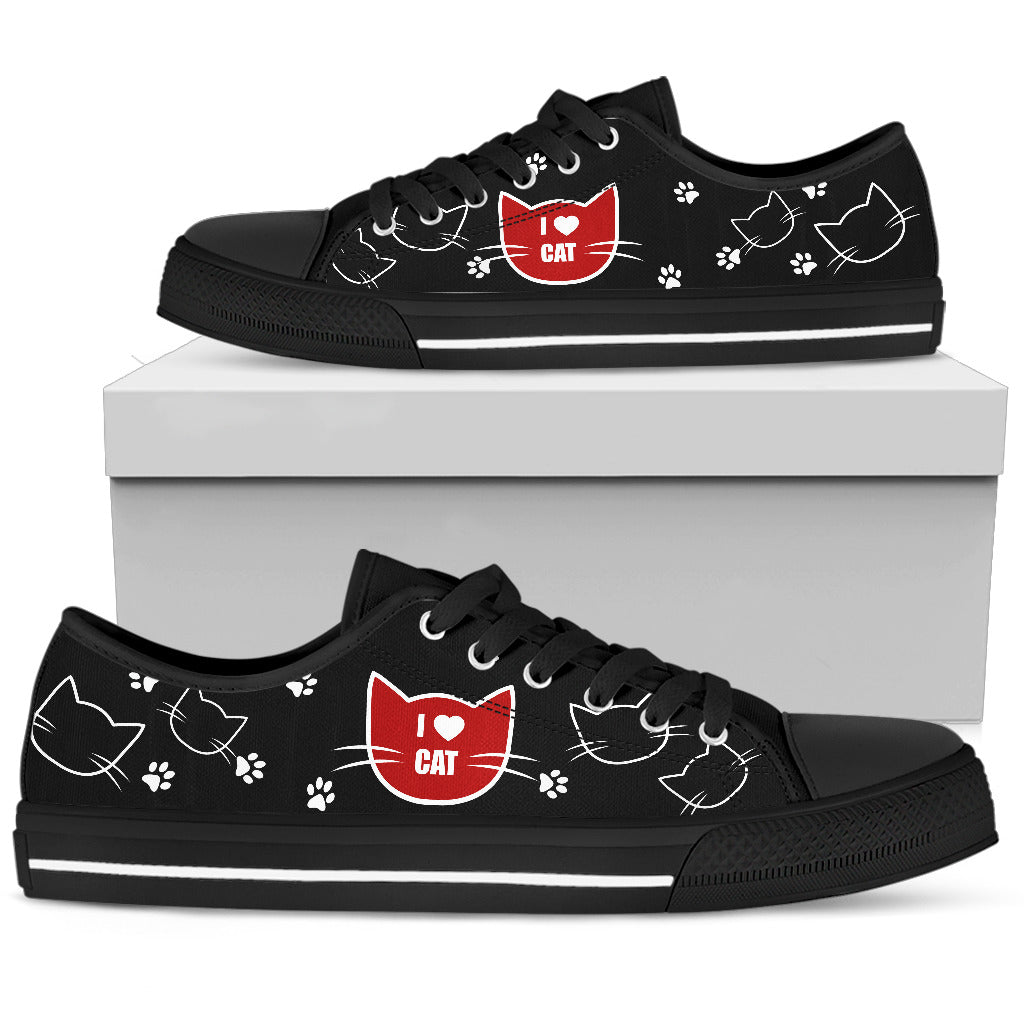 Cat Black White Animal Face Funny Lovely Fashion Low Top Shoes