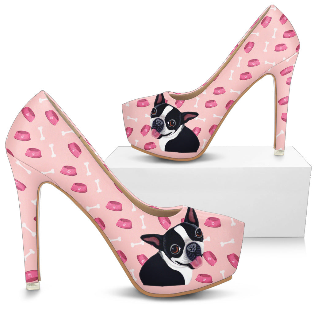 Boston Terrier Pattern Food And Boston Terrier High Heels