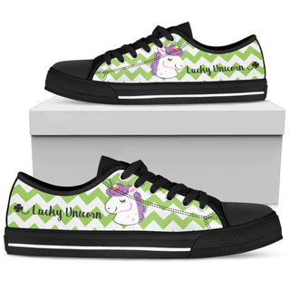 Green Wave Pattern Unicorn Low Top Shoes