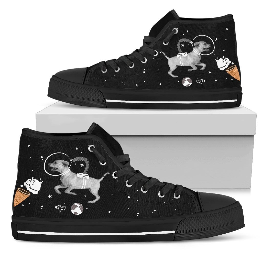 Labrado Astronaut Flying In Spaceman Suit Eating Ice Cream High Top Shoes