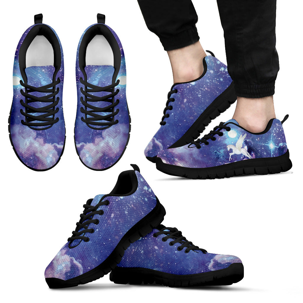 White Fantastic Unicorn Flying In Galaxy Cool Dark Sneakers