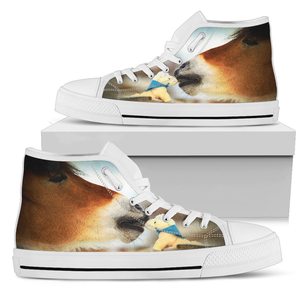 Horse Kissing Softed Bear High Top Shoes