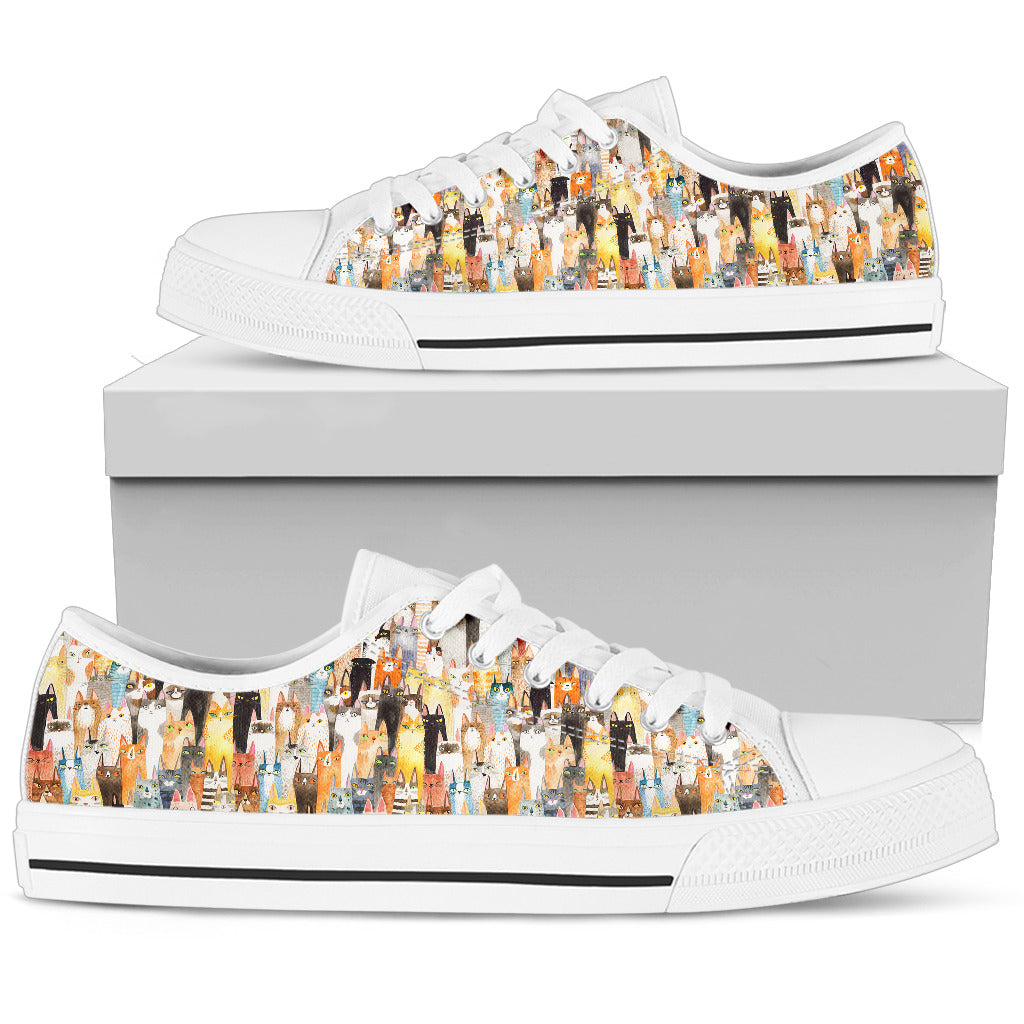 Cat Low Top Shoes Doodle Funny Nice Lover Style Pattern Design