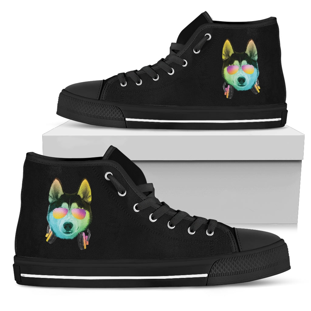 Dj Music Headphone Dog Huskey High Top Shoes