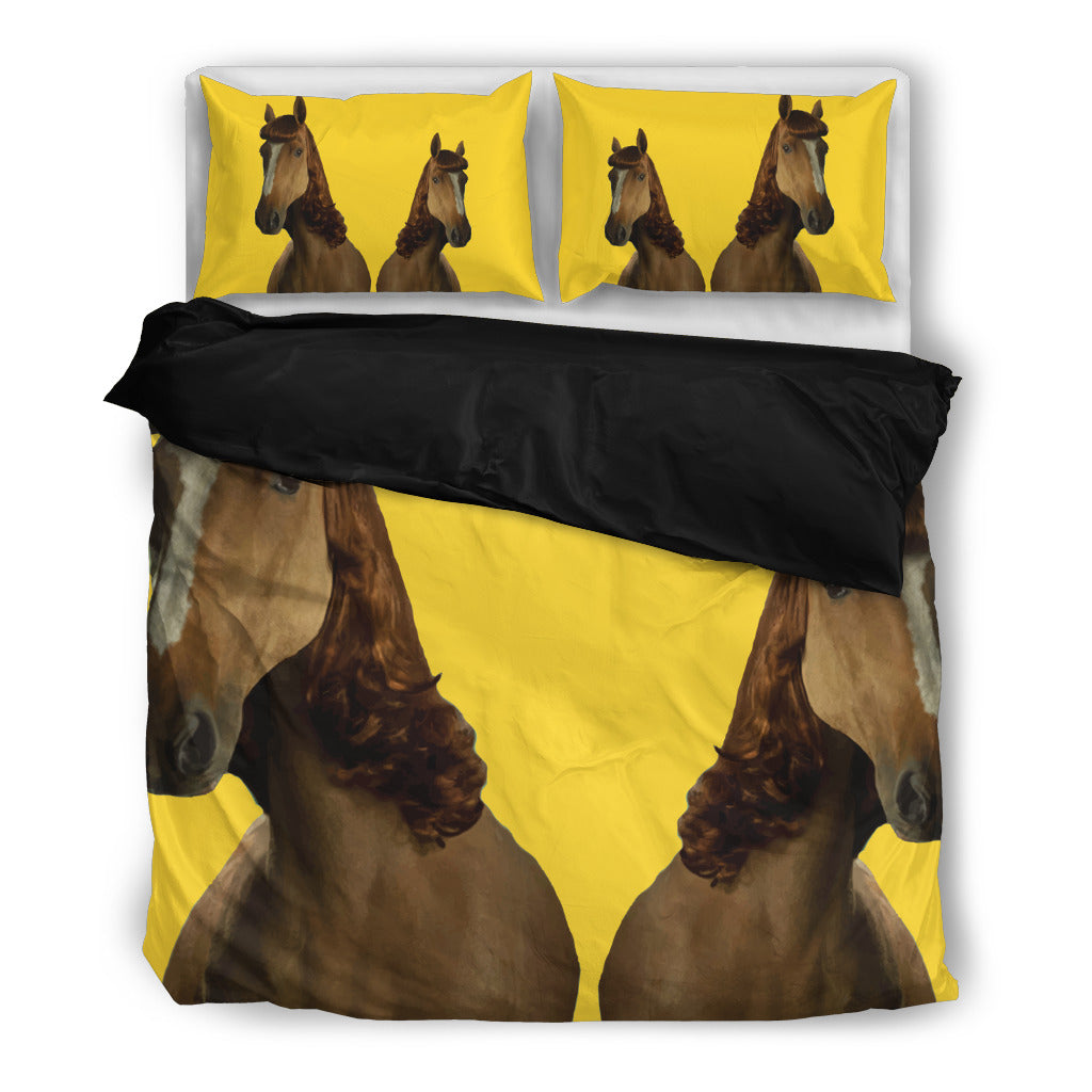 Horse With Hair In Yellow Background Funny Bedding Set Ver 2