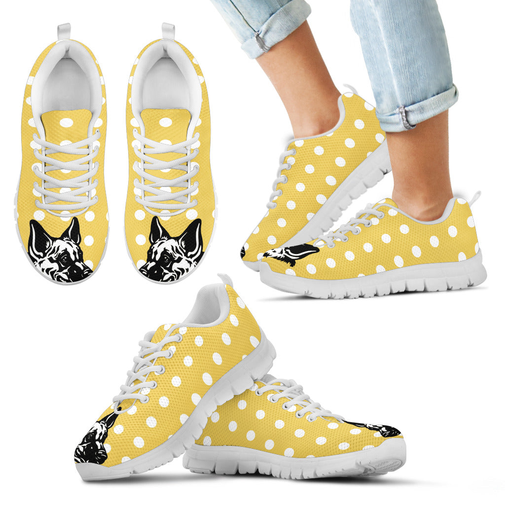 Pastel Yellow White Dot Vintage German Shepherd Face Sneakers