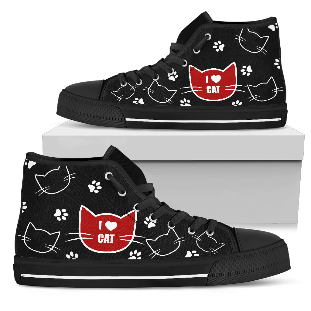 Cat Black White Animal Face Funny Lovely Fashion High Top Shoes