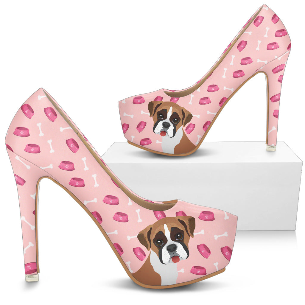 Boston Terrier Pattern Food And Boxer High Heels