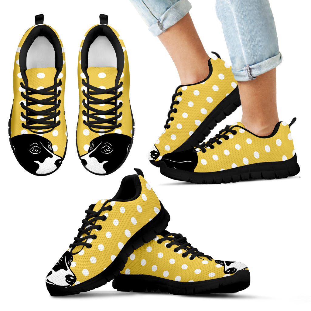 Pastel Yellow White Dot Vintage Beagle Face Sneakers