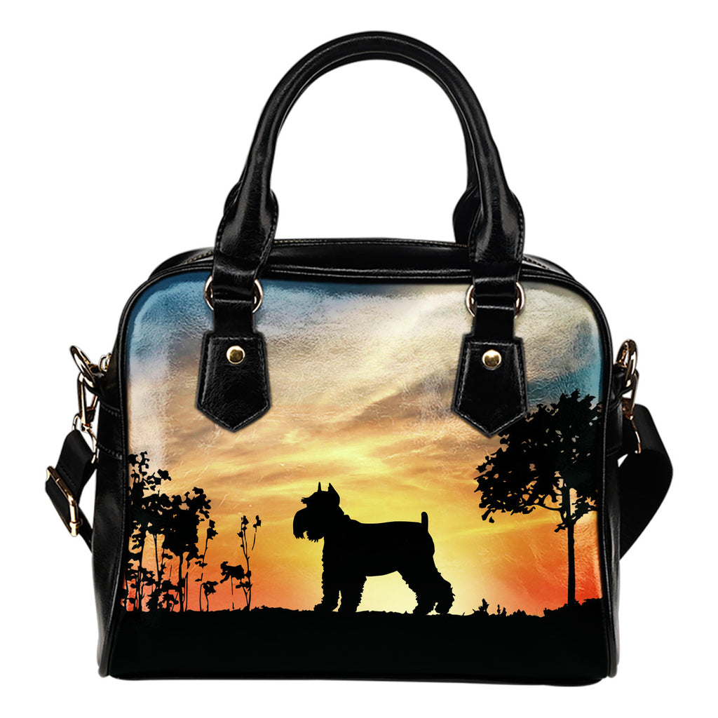 Schnauzer Sunshine Silhouette Shoulder Handbags