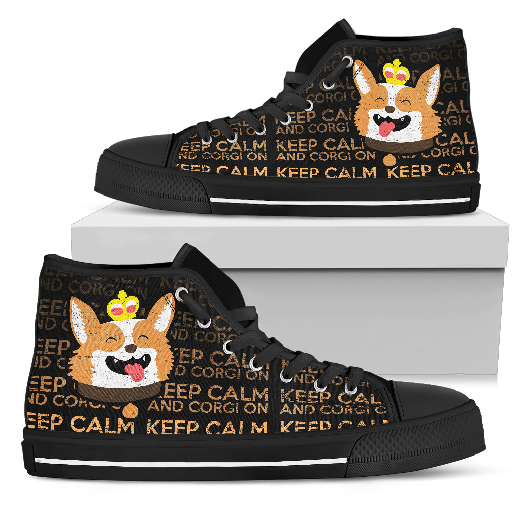 Keep Calm And Corgi On High Top Shoes