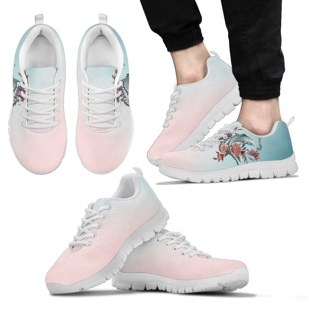 Shark Painting With Floral Pastel Cool Sneakers Ver 2