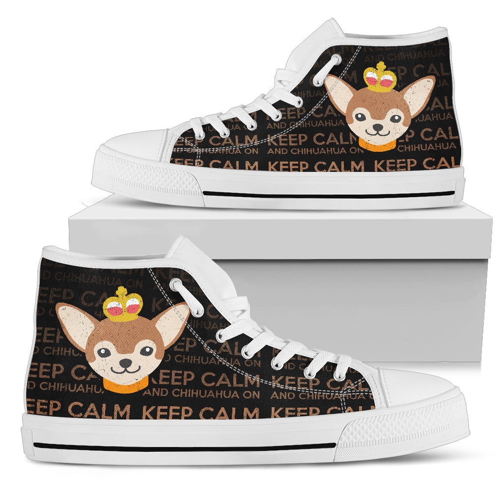 Keep Calm And Chihuahua On High Top Shoes