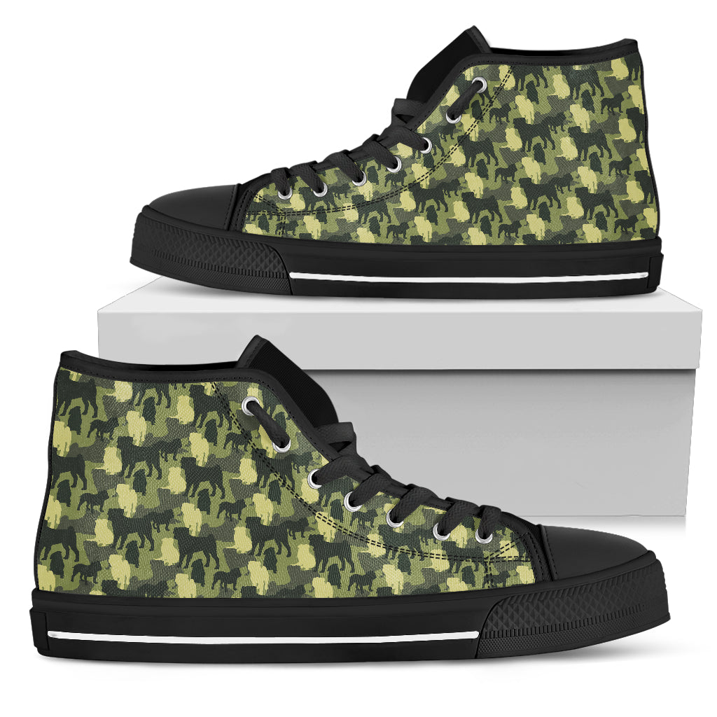 Camouflage Solider Military Pug Dog High Top Shoes
